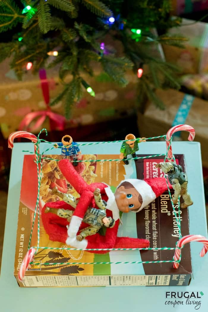 Elf on the Shelf Wrestling Ring Using a Cereal Box and Candy Cane