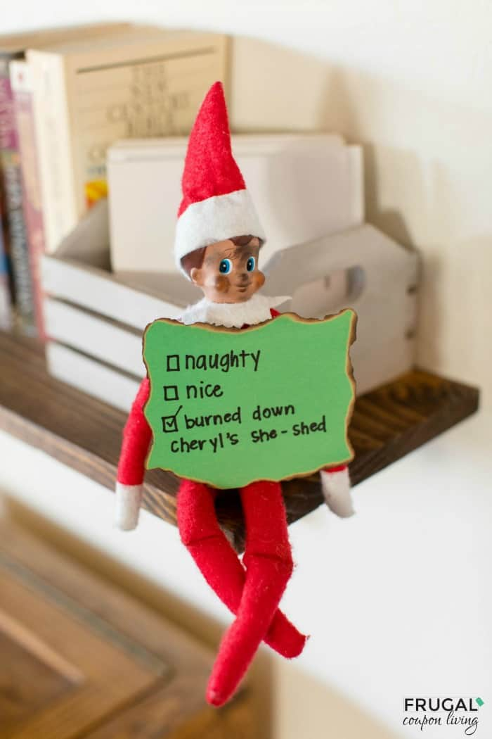 Elf on the Shelf Idea for Adults Cheryl's She Shed