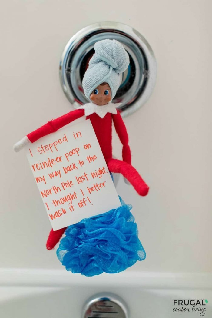 Elf on the Shelf in the Bath after stepping on reindeer poop.