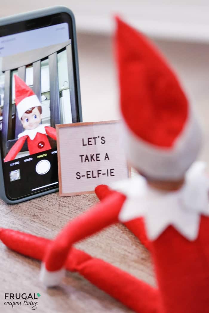Elf on the Shelf Selfie Idea with Free Elf on the Shelf Selfie Printable Letter Board