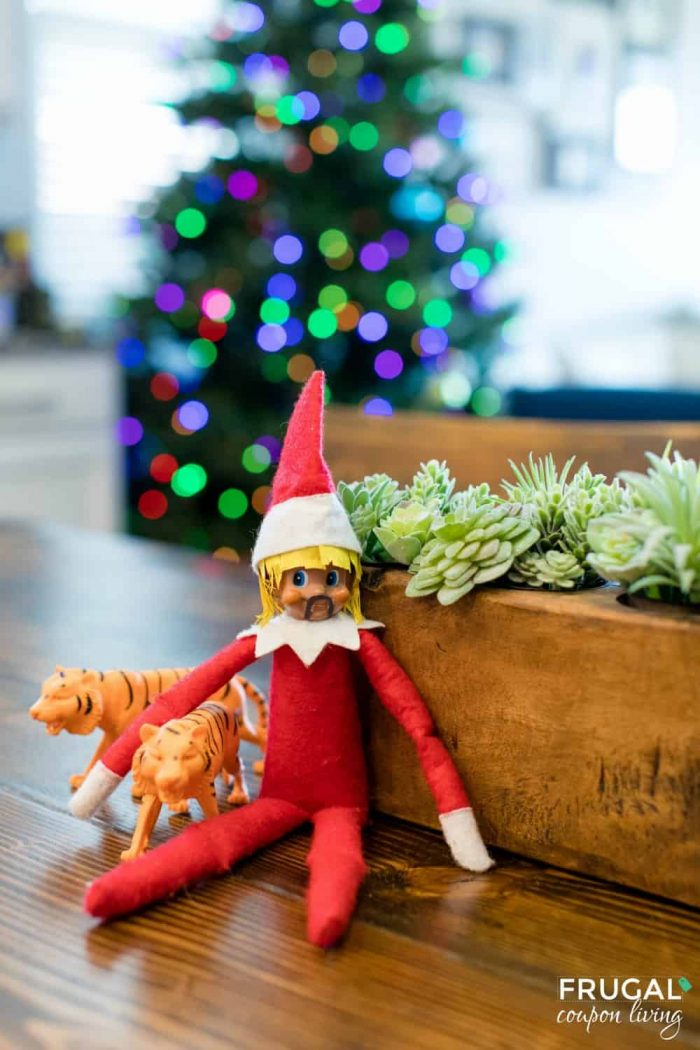 2020 Funny Elf on the Shelf Tiger King Joe Exoctic with fu manchu beard and blonde mullet