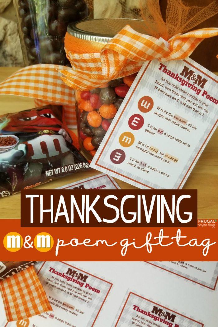 M&M Poem Mason Jar Thanksgiving Gift Tag Printable