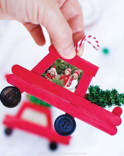 DIY Red Truck Ornament Christmas Tree