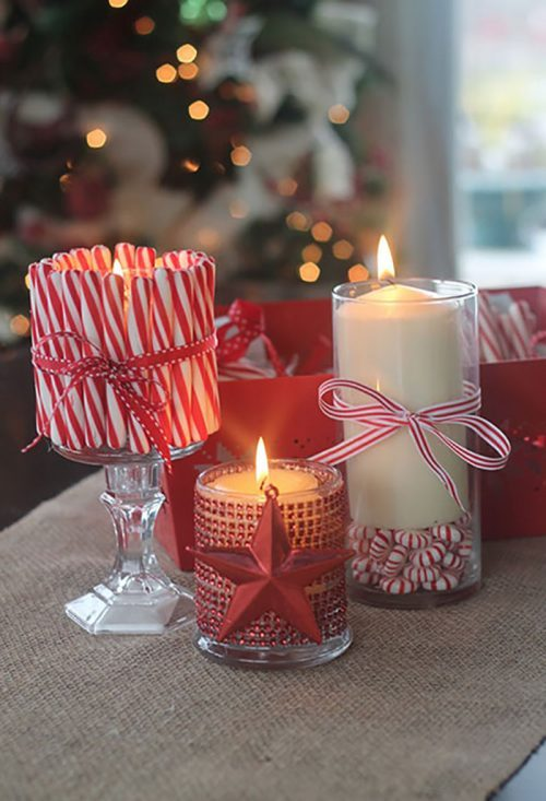 Dollar Tree Christmas Candles with Peppermint Sticks & Candy Canes