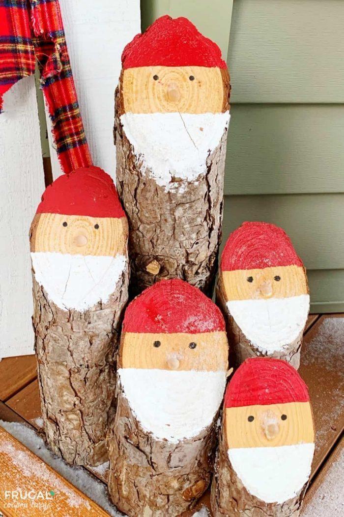 Rustic Santa Log Wooden Christmas Craft