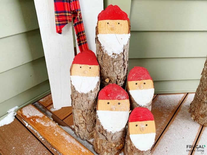 Rustic Christmas Decor Holiday Woodworking Project Santa Logs