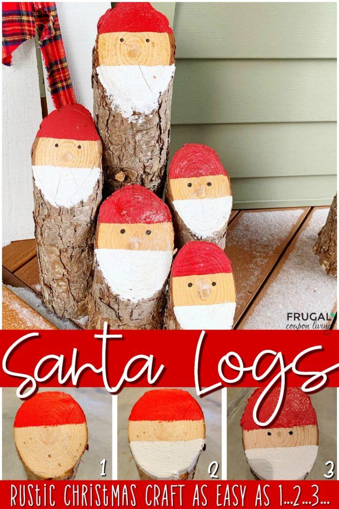 santa logs rustic Christmas crafts