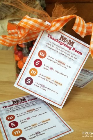 Thanksgiving M&M Poem Gift Tag Printable