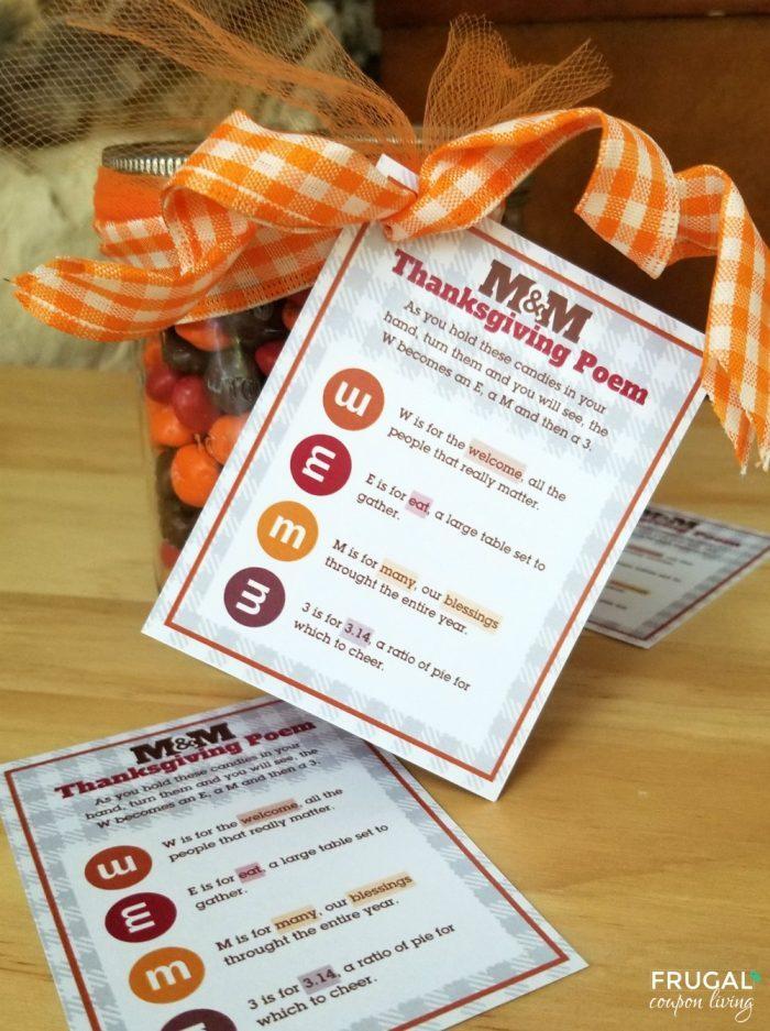Thanksgiving M&M Poem Gift Tag Printable