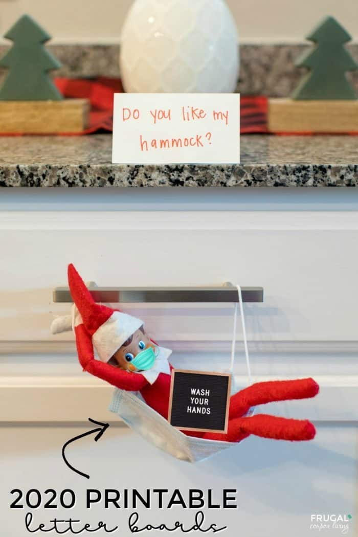 Elf on the Shelf Face Mask Hammock with Free Printable Letter Boards and Mask