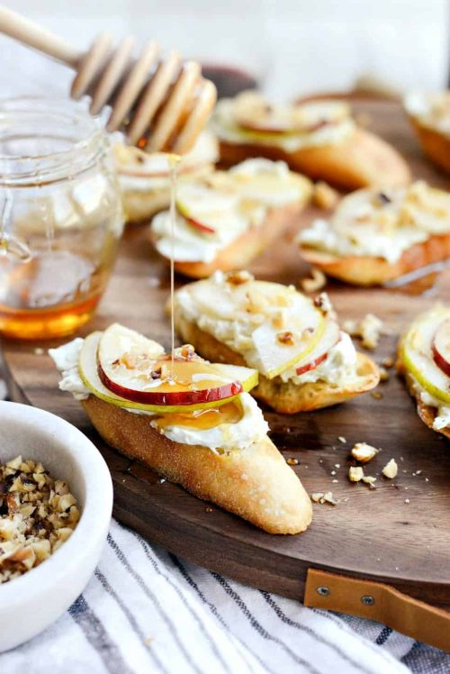 Blue Cheese Crostini with Pear & Honey