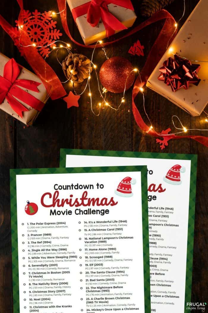 Christmas Movie List Challenge - Christmas Bucket List for Movies