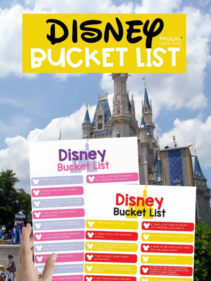 Disney World Bucket List Printable PDF in Pink and Purple or Red and Yellow