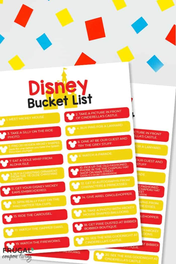 Family Disney Bucket List Printable PDF