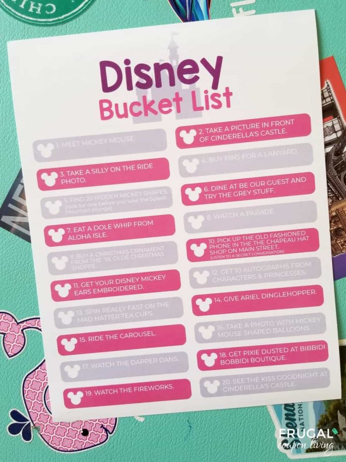 Disney World Bucket List Printable PDF