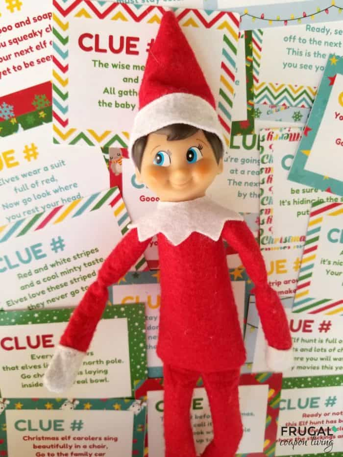 Christmas Scavenger Hunt with Elf on the Shelf - 22 Printable Clues