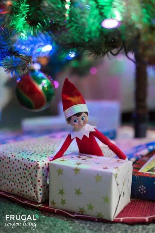 Elf on the Shelf Box Ideas + Elf Puts Presents Boxes Under the Tree