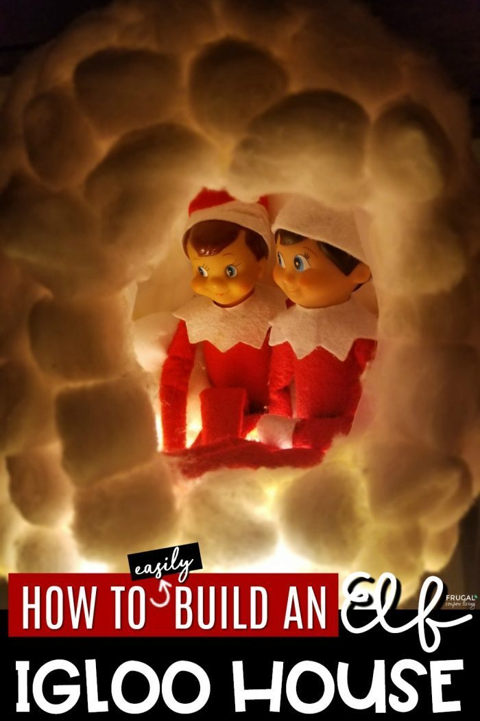 Elf on the Shelf House How to Build a Milk Jug Igloo with Cotton Balls F