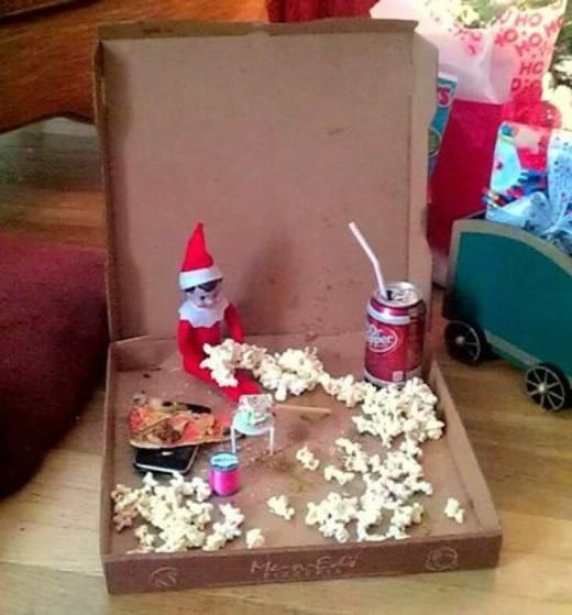 Elf Box Ideas | Elf on the Shelf Pizza Party with Popcorn