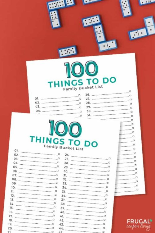 100 Things to Do | Family Bucket List Template Printable PDF