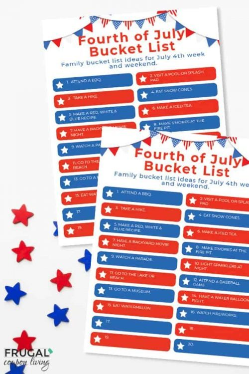 July 4th Summer Bucket List Printable PDF