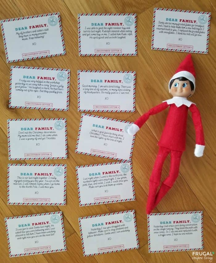 Mini Elf on the Shelf Letters for 12 Nights of Ideas