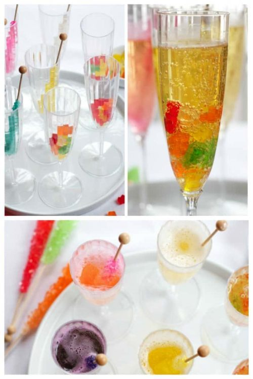 Candy Mocktails for Kids with Gummy Bears and Rock Candy