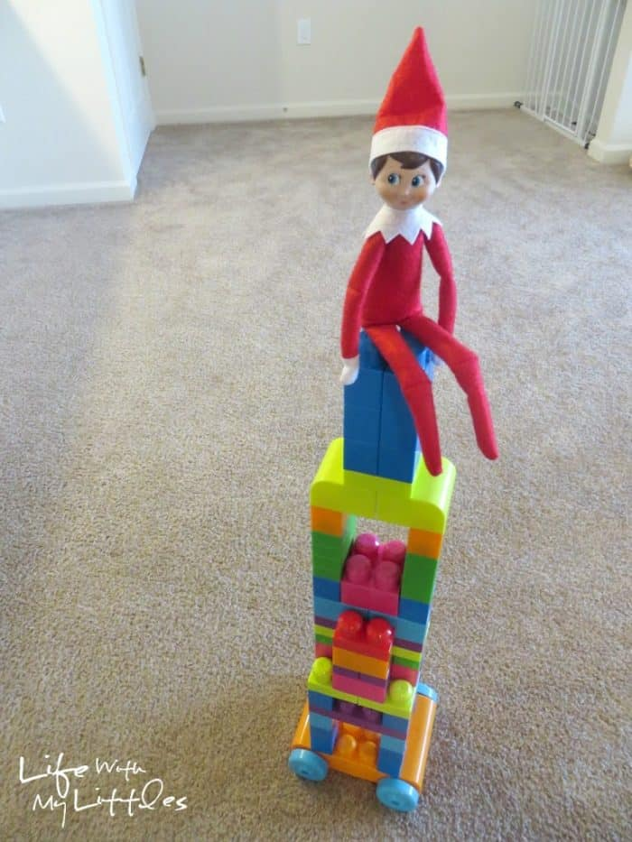 Elf on the Shelf LEGO Block Tower | Toddler Ideas for Elf