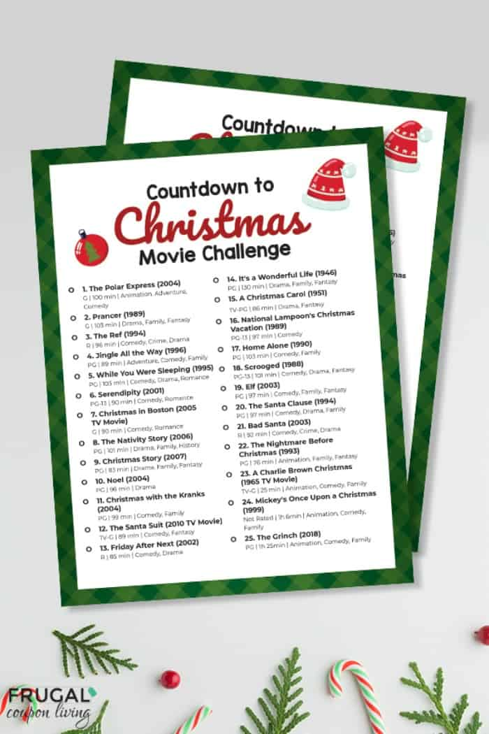 Christmas Movie Checklist Printable PDF | Christmas Bucket LIst