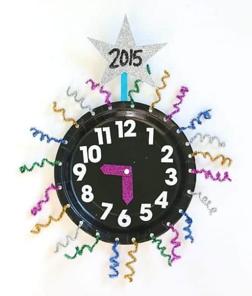 New Year's Eve Paper Plate Countdown Clock Craft for Kids