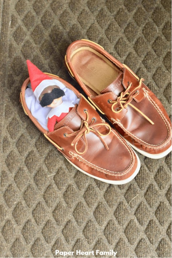 Elf on the Shelf Asleep in Shoes | Elf Preschool Ideas