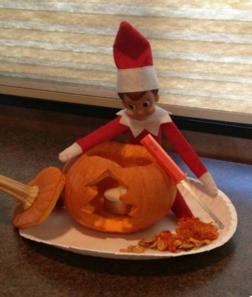 Elf on the Shelf Ideas for Thanksgiving | Christmas Tree Pumpkin Carving