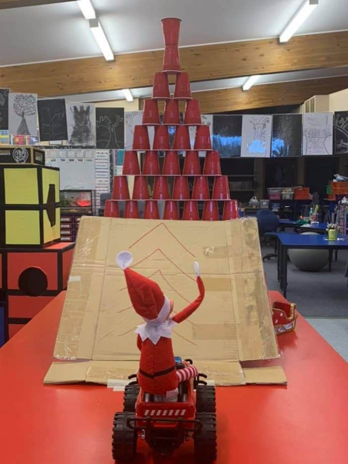 Elf on the Shelf Classroom Ideas with Solo Cup Ramp