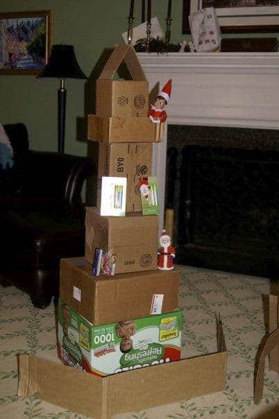 Elf on the Shelf Box Ideas | Cardboard Box Tower