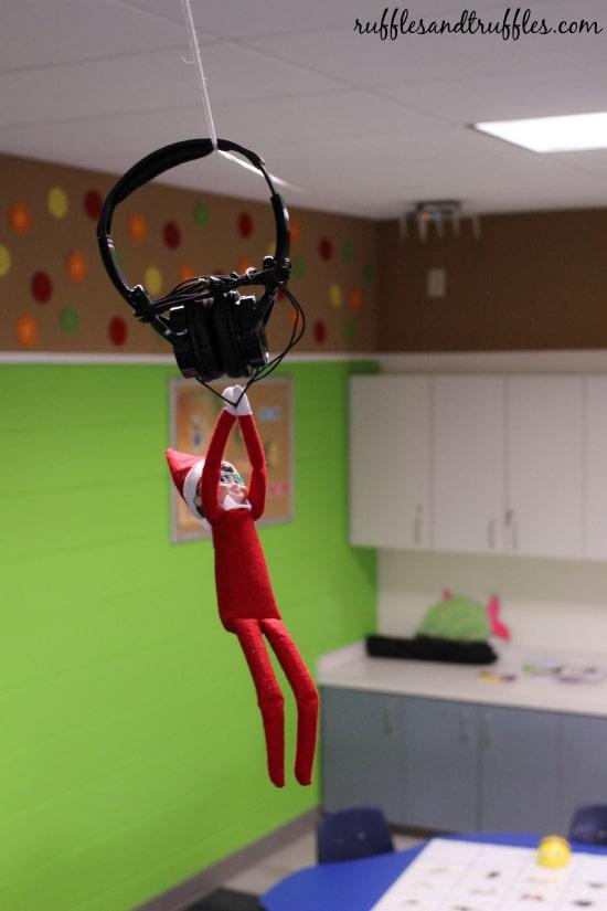 Elf on the Shelf Ideas for School | Elf Headphone Zipline