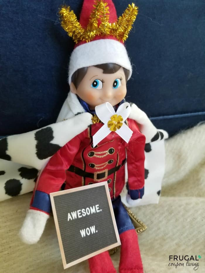 Elf on the Shelf Hamilton Costume with King George Printable Quotes on Letter Board