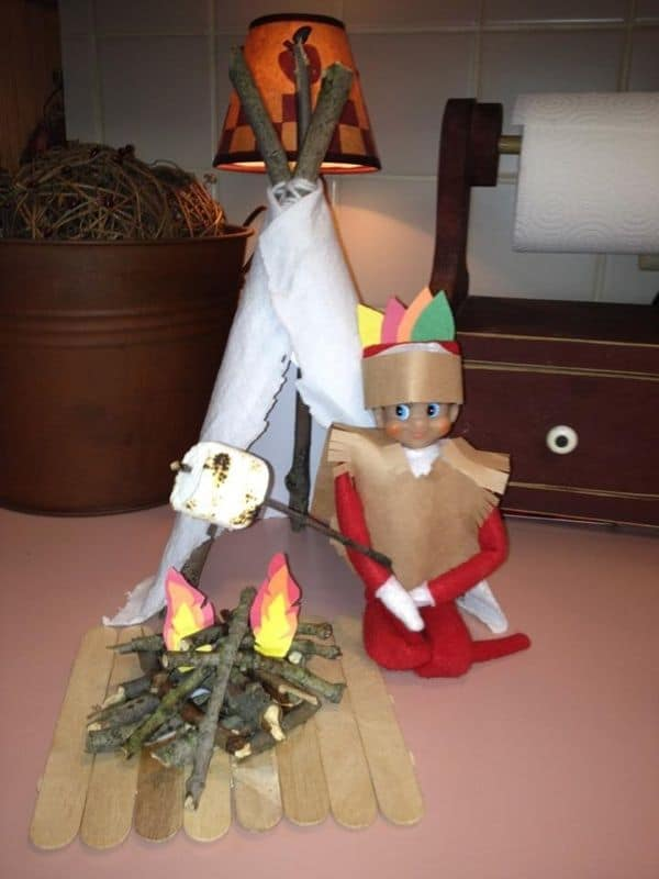 Elf on the Shelf Native American Smores Idea for Thanksgiving