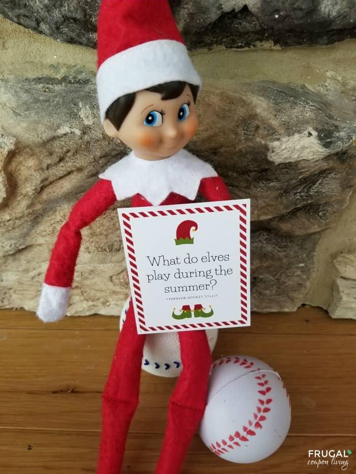 Silly Baseball Elf on the Shelf Joke - 30 Days of Elf on a Shelf Jokes for Kids Cards