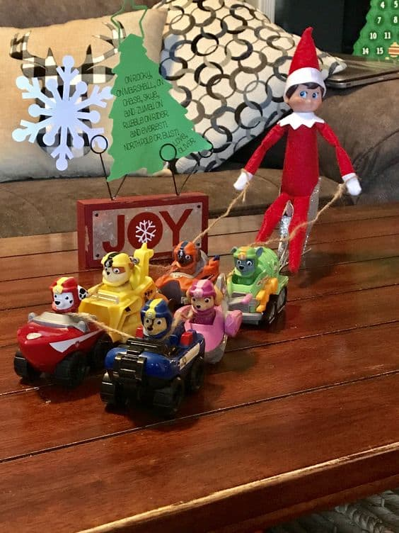 Elf on the Shelf Paw Patrol Sled | Elf Toddler Ideas