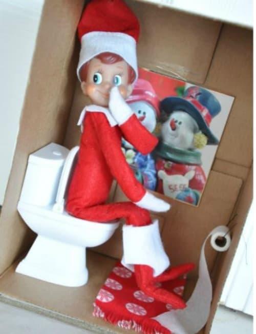 Elf on the Shelf Ideas with Boxes | Bathroom Antics for Elf