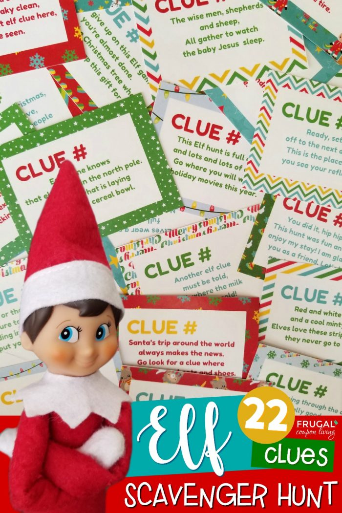 Elf on the Shelf Scavenger Hunt for Christmas Clues Printable & Riddles