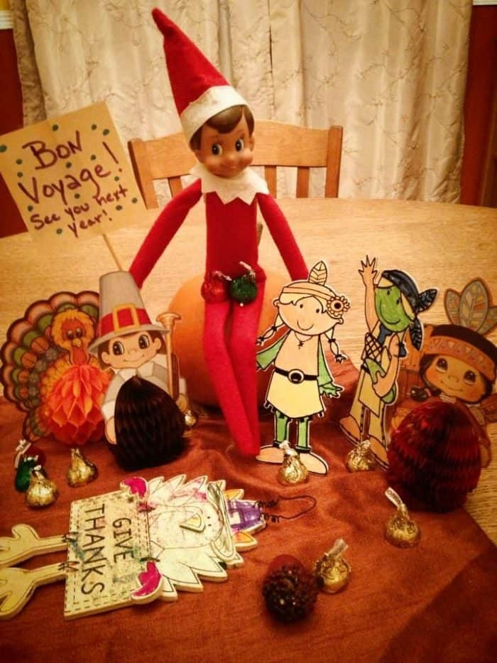 Elf on the Shelf Thanksgiving Ideas | Goodbye Party for Thanksgiving Décor