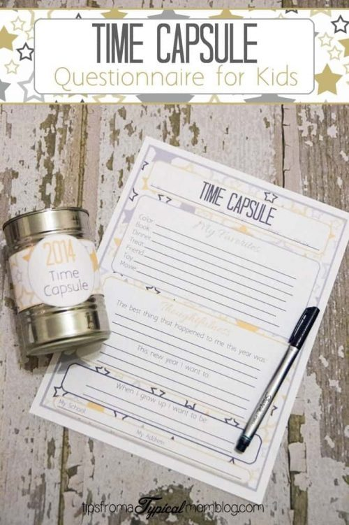 New Year's Eve Time Capsule Questionnaire Printable & New Year Ideas for Kids