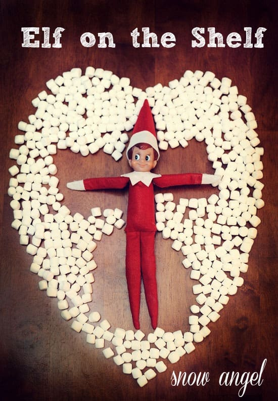 Elf on the Shelf Marshmallow Snow Angel + Elf Marshmallow Ideas