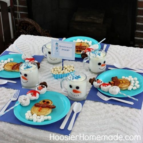 Christmas Eve Brunch Snowman Breakfast Table