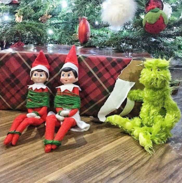 Elves Elf on the Shelf Tied Up | Two Elf Ideas