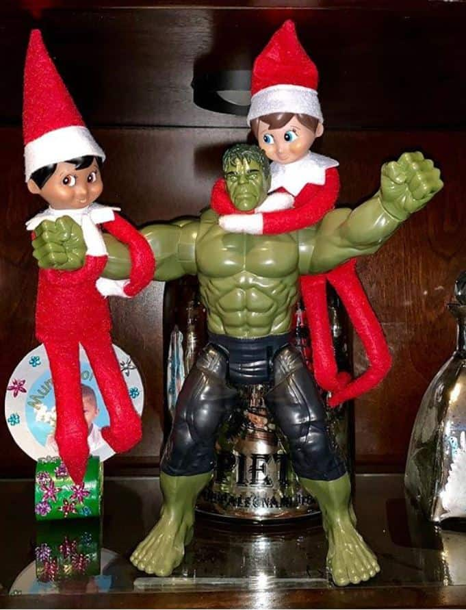 Two Elf Dolls with Hulk | Elf on a Shelf Ideas for Two