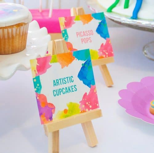 Art Party Food Buffet Cards and Name Place Cards for an Artist