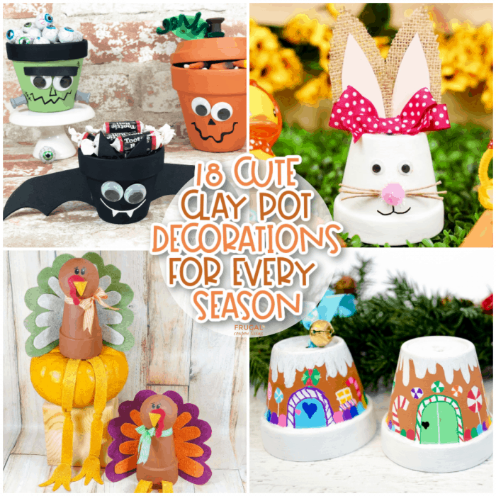 Cute Clay Pot Crafts Ideas for Every Season - Christmas, Easter, Halloween, Thanksgiving & More