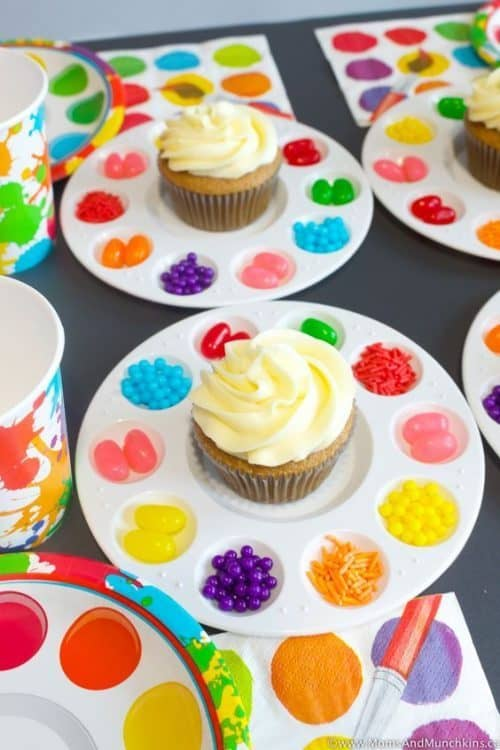 Art Birthday Party Food & Ideas | Art Party Cupcake Palette